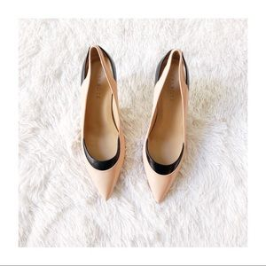 Talbots Nude Pointy Toe Pumps Black Accents sz7.5